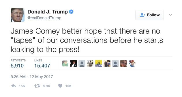 Image result for trump tweet comey tapes